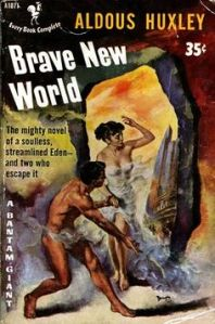 old book cover for Aldous Huxley's Brave New World