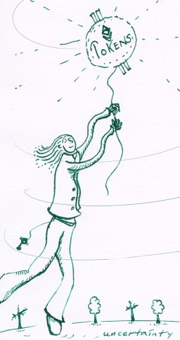 ink illo of person holding token balloon by greenwise art