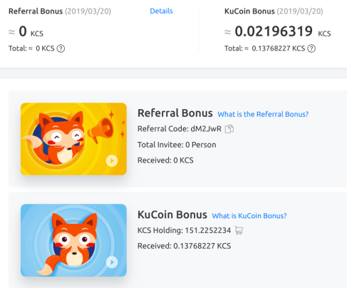 Screenshot of KuCoin Referral and Bonus scheme 2019