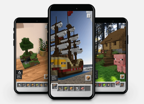 image of phones with Minecraft Earth