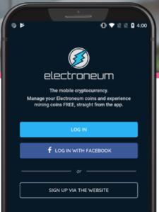image of Electroneum's mining app smartphone